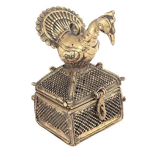 Indianshelf Kunsthandwerk von Messing Dhokra Kunst Schmuck Behälter mit einem Vogel auf der sie die Statue Dekoration Designer Erklärung Vintage Stück Online Neue