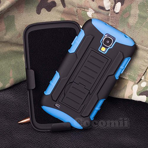 Galaxy S4 Mini Funda, Cocomii Robot Armor NEW [Heavy Duty] Premium Belt Clip Holster Kickstand Shockproof Hard Bumper Shell [Military Defender] Full Body Dual Layer Rugged Cover Case Carcasa Samsung I9190 I9195 (Blue)