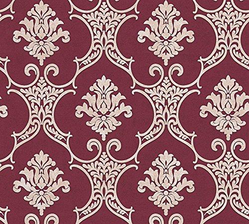 Livingwalls Vliestapete Moments Tapete mit Ornamenten barock 10,05 m x 0,53 m beige rot Made in Germany 328305 32830-5