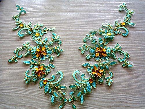 Fabriqué à la main en dentelle à coudre bleu clair strass Applique avec Fil métallique en bordure Doré délicat brodé 25 * * * * * * * * 10 cm pour robe