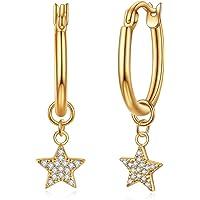 Huggie Creolen mit Mond/Stern Charms, rhodiniert mit Zirkonia & Opal Ohrhänger, Schmuck Geschenk für Frauen