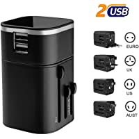 Travel Charger Adapter, Moobom Worldwide Universal International Wall Charger Travel Adaptor with Dual USB Charging…