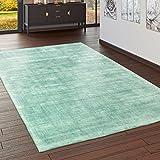 Paco Home Teppich Handgefertigt Hochwertig 100% Viskose Vintage Trend Farbe Pastell Grün, Grösse:120x170 cm