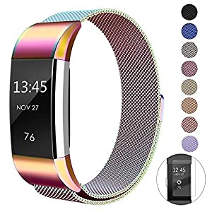 super vaule Für Fitbit Charge 2 Armband, Milanese Fitbit Charge 2 Ersatzarmband Edelstahl Fitbit Armbänder Charge 2 mit Magnet-Verschluss Armband für Fitbit Charge2 (Lavender, S) (Colourful, S)