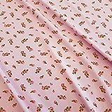 Stoff Baumwolle Jersey Meterware Rosa Rosen Blumen Punkte
