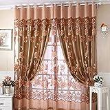 Tongshi 250 cm * 100 cm de la impresión floral de la gasa de la cortina de puerta ventana de la habitación de la bufanda de la cortina del tabique (Café)
