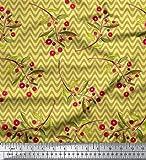 Soimoi Gelb SAMT Stoff Wellen und rote Beeren Obst Stoff