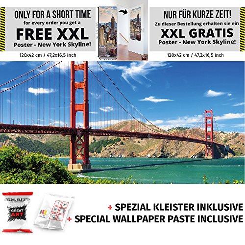 Golden Gate Bridge Fototapete San Francisco Brücke Wahrzeichen Kalifornien USA XXL Wandbild by GREAT ART 210 x 140 cm + Spezial Kleister