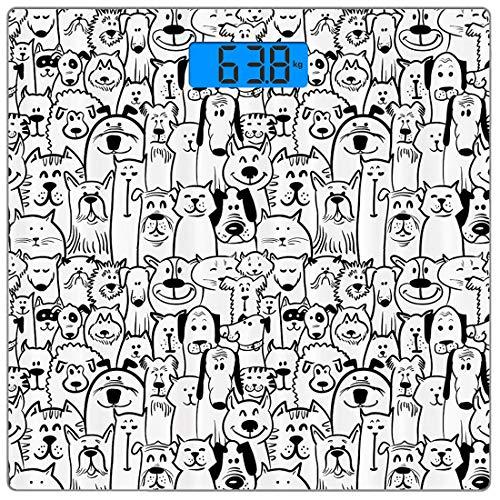 Präzisions-Digital-Körpergewichtswaage Doodle Ultra Slim Gehärtetes Glas Personenwaage Genaue Gewichtsmessungen, Sammlung von Hunden und Katzen Niedliche Tiere Spaß Glückliche Wesen Cartoon-inspiriert -