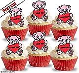 "Juego de 24 copas de papel de regalo para tarta, diseño con texto en inglés ""I Love You Teddy"""