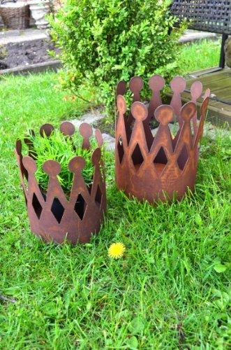 Krone Rost Pflanzschale Edelrost Deko aus Metall Blumenübertopf Windlicht Kerzenhalter Pflanztopf Gartendeko ca. 25cm Höhe