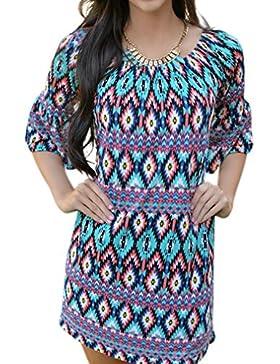 Honghu Donna Print Casuale Manica Corta Loose Blouse Estate Vestito Corto Camicette