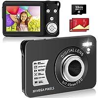 LINNSE Digitalkamera, Kompaktkamera 30MP 2,7-Zoll- mit 8X Digitalzoom Fotoapparat Digitalkamera mit 32 GB SD-Karte und 2…