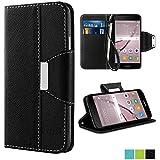 Huawei Nova Hülle,Vakoo Bookstyle Handyhülle Premium PU-Leder Tasche Flip Case Brieftasche Etui Handy Schutzhülle für Huawei Nova (Schwarz)