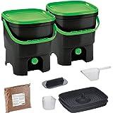 Skaza Bokashi Organko Set (2 x 16 L) Compostador 2X de Jardín y Cocina de Plástico Reciclado   Starter Set con EM Bokashi Pol