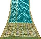 Vintage indischer reiner Seide Blau Saree Woven Schneiderei