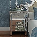 Anaelle Panana Table de Chevet Miroir en Verre Meuble de Rangement avec 3 Tiroirs sur Salon, Chambre, Bureau, 30 x 30 x 60 cm
