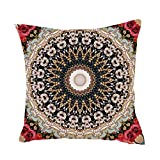 hshi Geometrische, indische Bohemian-Kissenbezüge mit Mandala-Muster Kissenbezug Home Decor (18x 18cm, Schwarz, 1