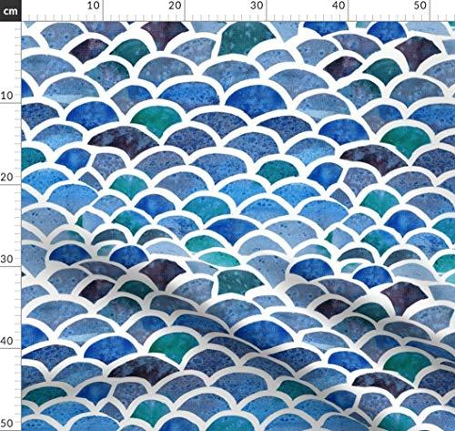 Wasserfarben, Marine, Fisch, Maritim Stoffe - Individuell Bedruckt von Spoonflower - Design von Pixabo Gedruckt auf Baumwoll Spandex Jersey -