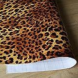 Yazi Leopard Print Muster Faux Animal Wasserdicht Vinyl Tapete Selbstklebend orange schwarz 0,45x 10Mio.