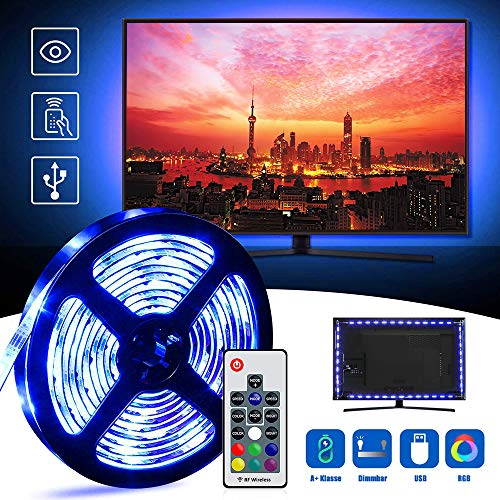 Led TV Hintergrundbeleuchtung,2M USB RGB Led Beleuchtung Hintergrundbeleuchtung Fernseher Betrieben mit RF Wireless Fernbedienung für 40 bis 60 Zoll HDTV,TV-Bildschirm und PC-Monitor