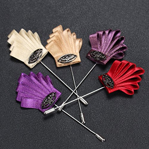 Broches Hommes de Ruban en Tissu Mode Corsage de Marié Décoration de Mariage de Fête Kaki