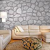 decomonkey | Fototapete 3d Steinwand 400x280 cm XXL | Design Tapete | Fototapeten | Tapeten | Wandtapete | moderne Wanddeko | Wand Dekoration Schlafzimmer Wohnzimmer | Grau | FOB0125c84XL