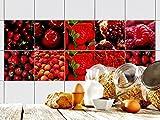 GRAZDesign 770346_15x15_FS10st Fliesen-Aufkleber Set Rote Beeren Früchte | Küchen-Fliesen mit Folie überkleben (15x15cm//Set 10 Stück)