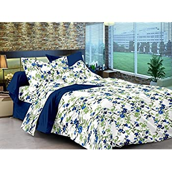 Ahmedabad Cotton Comfort 160 TC Cotton Single Bedsheet with 1 Pillow Cover - Floral, Blue