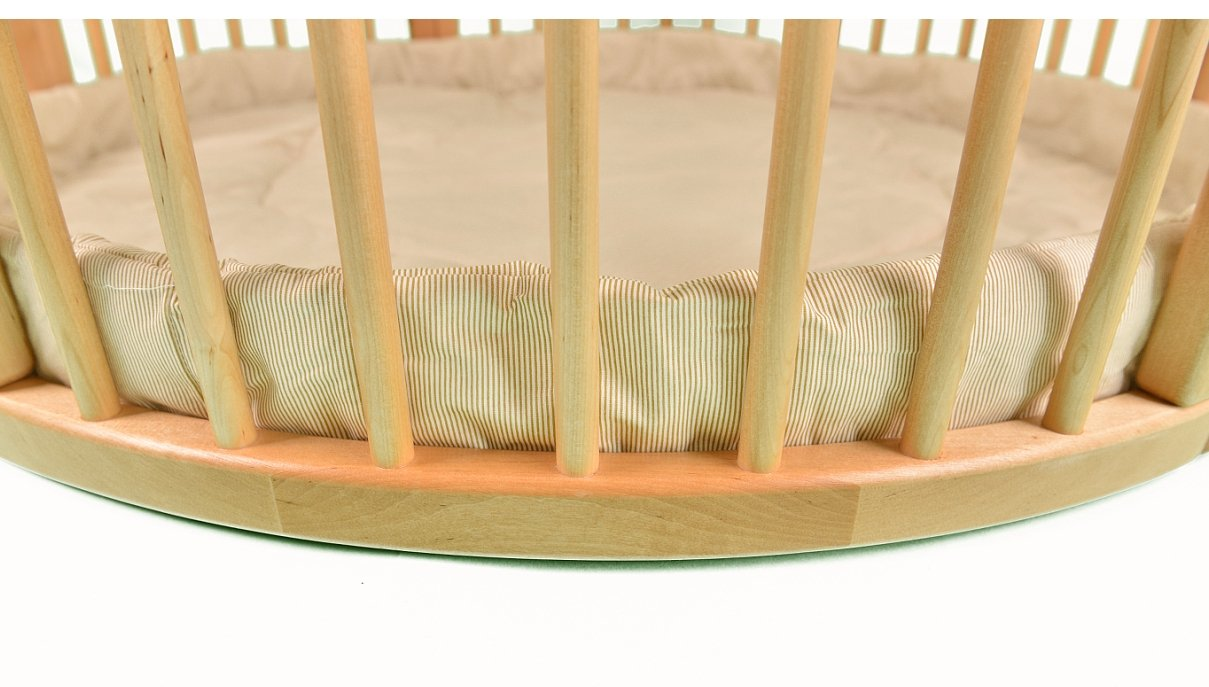 Solid Wood Round Playpen with Soft Layer Diameter 120 cm ALANEL Height 70 cm approx; Ø 120cm Playpen from ALANEL MADE IN EUROPE including Playmat 2