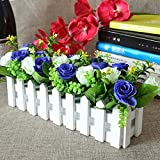 Flikool Roses Künstliche Pflanzen mit Weiß Zaun Gefälschte Künstliche Blumen mit Topf Simulation Topfpflanzen Bonsai Kunstblumen Kunstpflanzen Ornaments Dekorationen - Blau Weiß