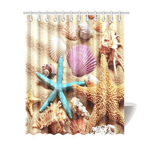 Thema Badezimmer Dusche Vorhang, Seashell Seestern Sand Schimmelresistent Wasserdicht Polyester Stoff Vorhang für die Dusche Badezimmer-Sets mit Haken, 152,4x 182,9cm, Textil, sand, 69 X 84 inches (Seashell Dusche Vorhang Haken)