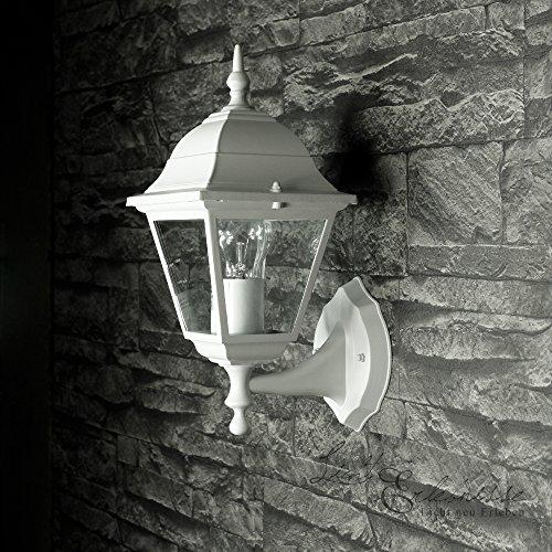 "Aluguss Gartenlaterne matt-weiß/grau Wand- Außenleuchte Außenlampe\""Tirol\"" aus Aluspritzguss IP44 Wandlampe für Hof Garten Beleuchtung"