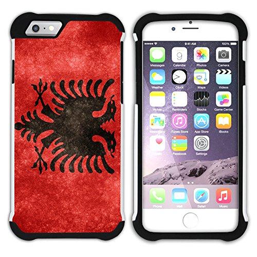 Graphic4You Albanien Albanisch Flagge Hart + Weiche Kratzfeste Hülle Case Schale Tasche Schutzhülle für Apple iPhone 6 Plus / 6S Plus Design #6