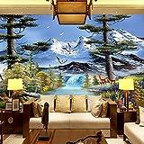 WH-PORP Benutzerdefinierte Foto 3D große Wandbild Tapetes Europäische Malerei Garten Cottage Wohnzimmer-128cmX100cm