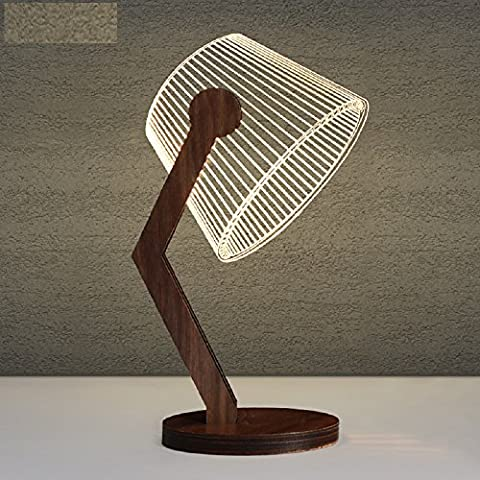 K&C Black Walnut 3D Night Light Table Desk Lamps with Acrylic Flat & Wooden Base & USB Charger C Model