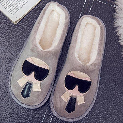DogHaccd pantofole,Autunno Inverno paio di pantofole di cotone, in pacchetto in camera per rimanere nel caldo inverno spesse pantofole di peluche di uomini e donne. Grigio chiaro2