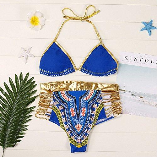 Italily -Bikini donna,Costume da bagno donna con stampa africana Costume da bagno Reggiseno imbottito push-up Costumi da bagno Blue