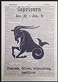 Steinbock Sternzeichen Vintage Wörterbuch Seite Print Bild Wand Kunst Geschenk