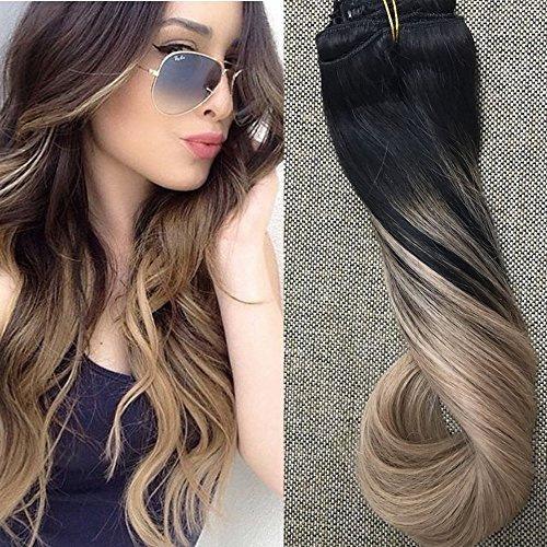 Full Shine 20 Pouces/50cm 10Pcs 140g/Set Ombre Dip et Dye Clip in Human Hair Extension Couleur de Cheveux # 1B Fading à la Couleur # 18 Ash Blonde Extensions