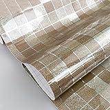 Yazi Selbstklebende Aufkleber Mosaik Tapete Küche Schrank Fenster 45x 499,9cm, PVC, coffee, 17.7x196.8 inch