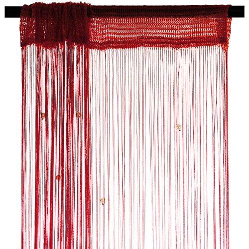 Smartfox Fadenvorhang 140 x 250 cm in Rot mit Perlen Fadengardine Fadenstore Vorhang Schal Faden