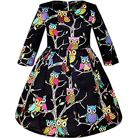 Sunny Fashion Robe Fille Fit-and-flare Chouette Imprimer Partie Longue Manche