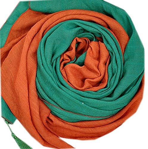 Smile YKK Foulard Femme Echarpe Châle de Plage Frange Chic Orange Vert