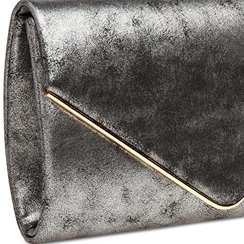 CASPAR TA349 Damen elegante Envelope Clutch Tasche / Abendtasche mit langer Kette Platin