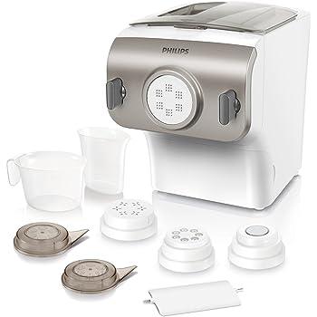 Philips HR2355/12 Pastamaker (200 Watt, Automatisches Mischen, Kneten und Ausgeben, 4 Formscheiben) weiß /champagnerfarben
