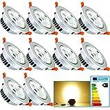fsders Vingo LED 7W Einbaustrahler Geringe Einbautiefe Warmweiß Dimmbar Einbauleuchten für Badezimmer Geschäft, aluminium, 7 W, 10x 7w Warmweiß Dimmbar