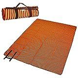 Makibes Wasserdichte PVC-Strandmatte Campingmatte Transforming Faltbare Paket 200x145 cm -Orange + Brown