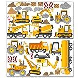 Wandkings Baumaschinen Wandsticker Megapack Set, 58 Aufkleber, Gesamtfläche 260...