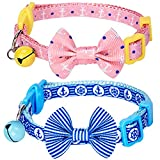 Blueberry Pet Pack of 2 Cat Collars, Perfection Mix Match Designer Adjustable Breakaway Cat Collar with Bow Tie & Bell , Neck 23cm-33cm
